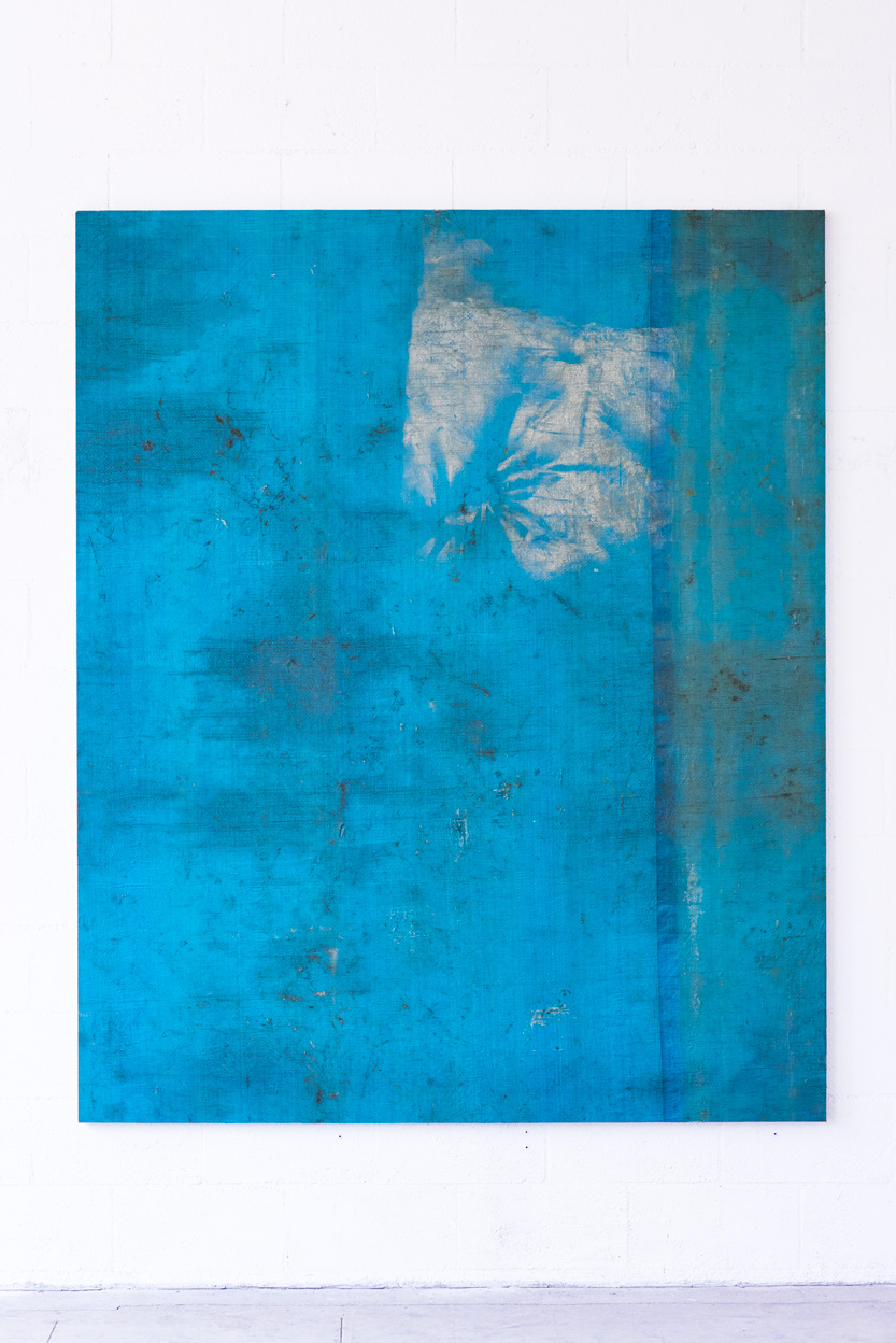 dead beat leads , 2015 Tarp on wooden stretcher 84 x 69 x 1.25in