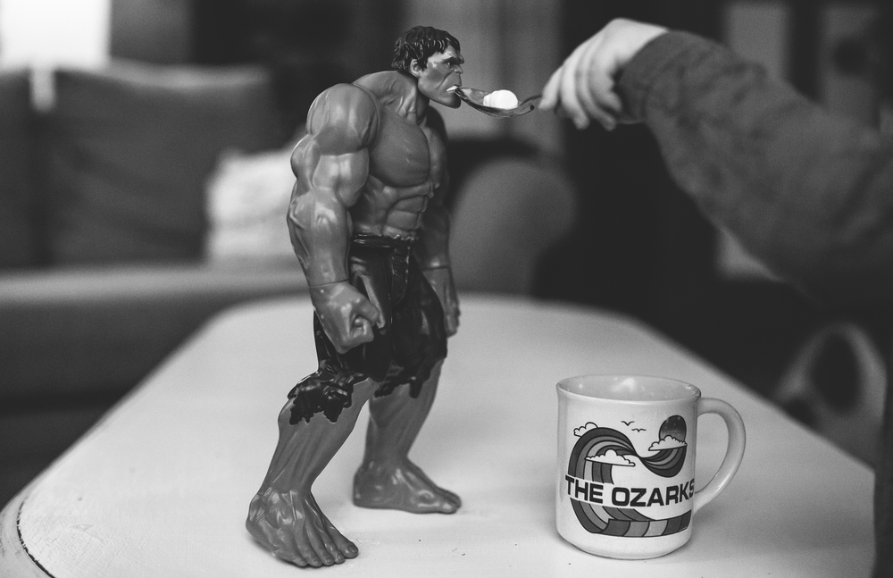 41/366 | Obviously the Hulk stays so strong by eating marshmallows.