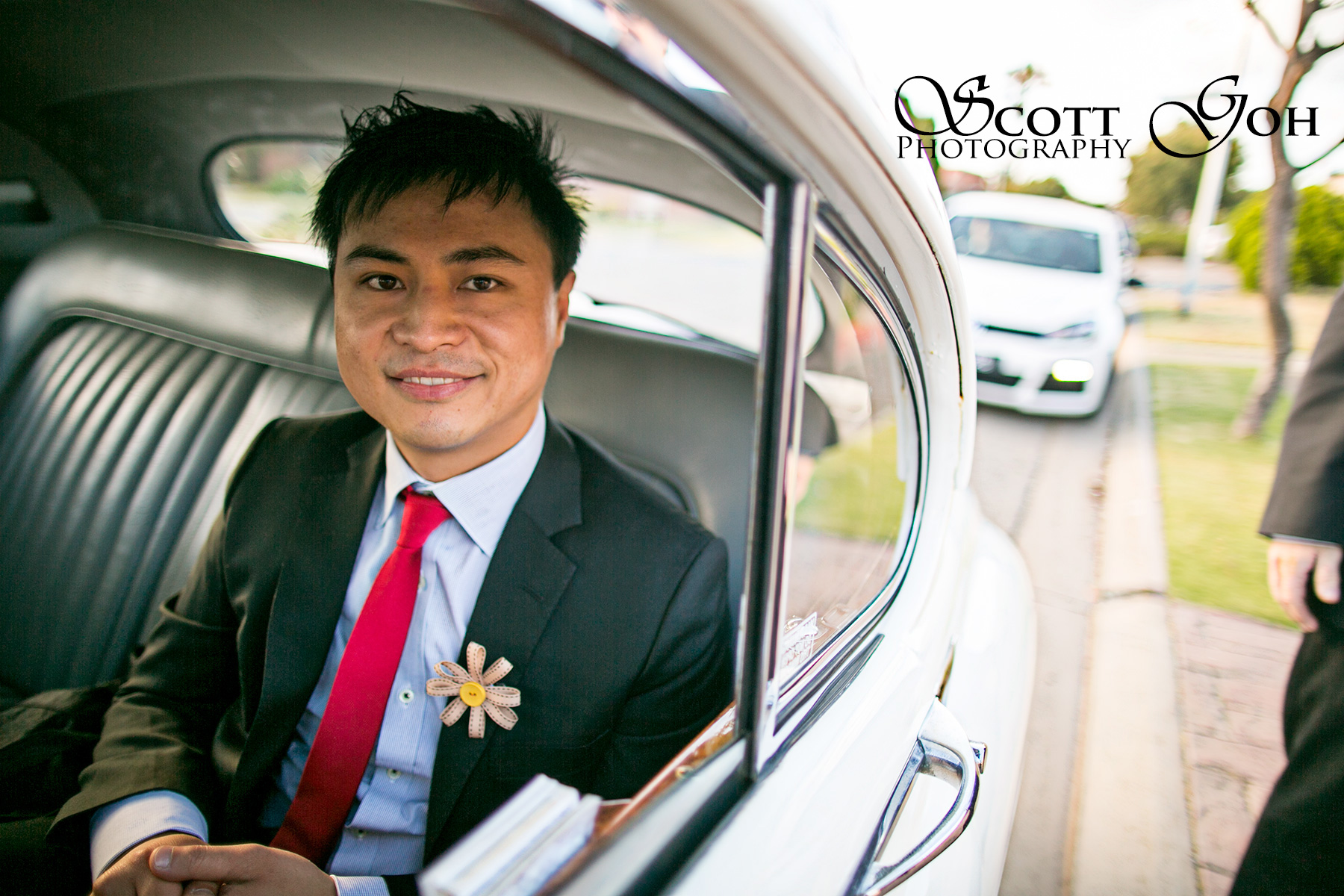 groom in car