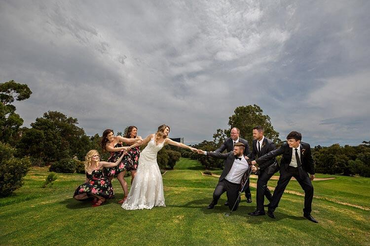 golf fun wedding bridal party photo