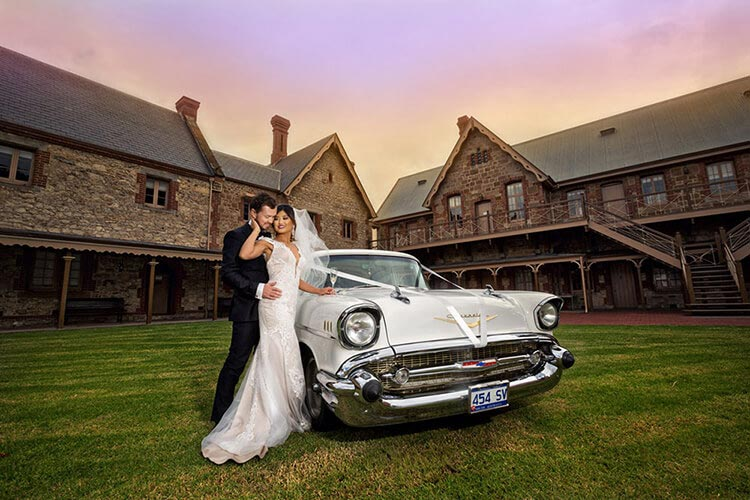 SA museum wedding lawn sunset photography