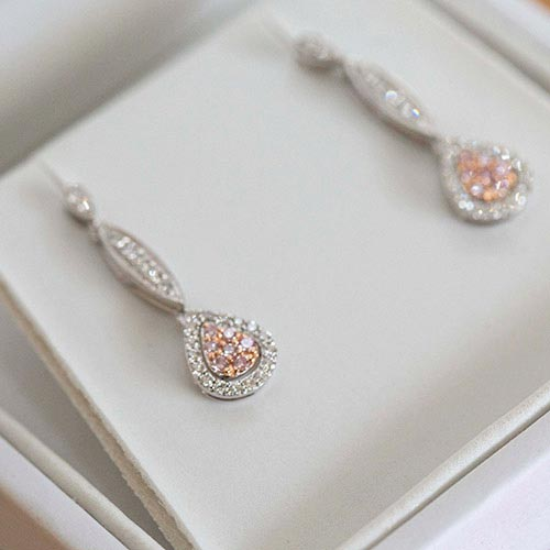pink diamond wedding ear rings