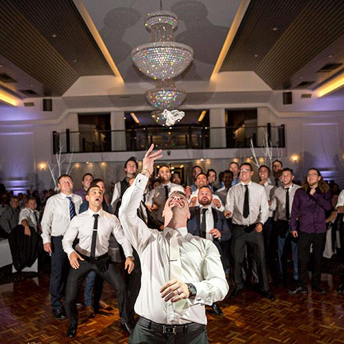 garter toss wedding groom john di fede reception
