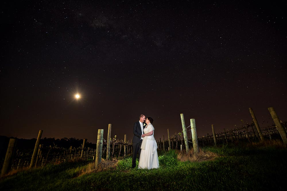 winery  wedding night photo portrait