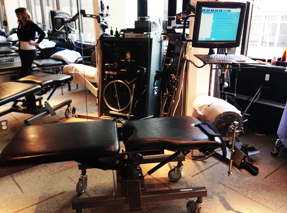Pictured above is the BTE isokinetic testing equipment I use at my therapy sessions. It measures my output as I perform calf extensions lying prone on the bench.