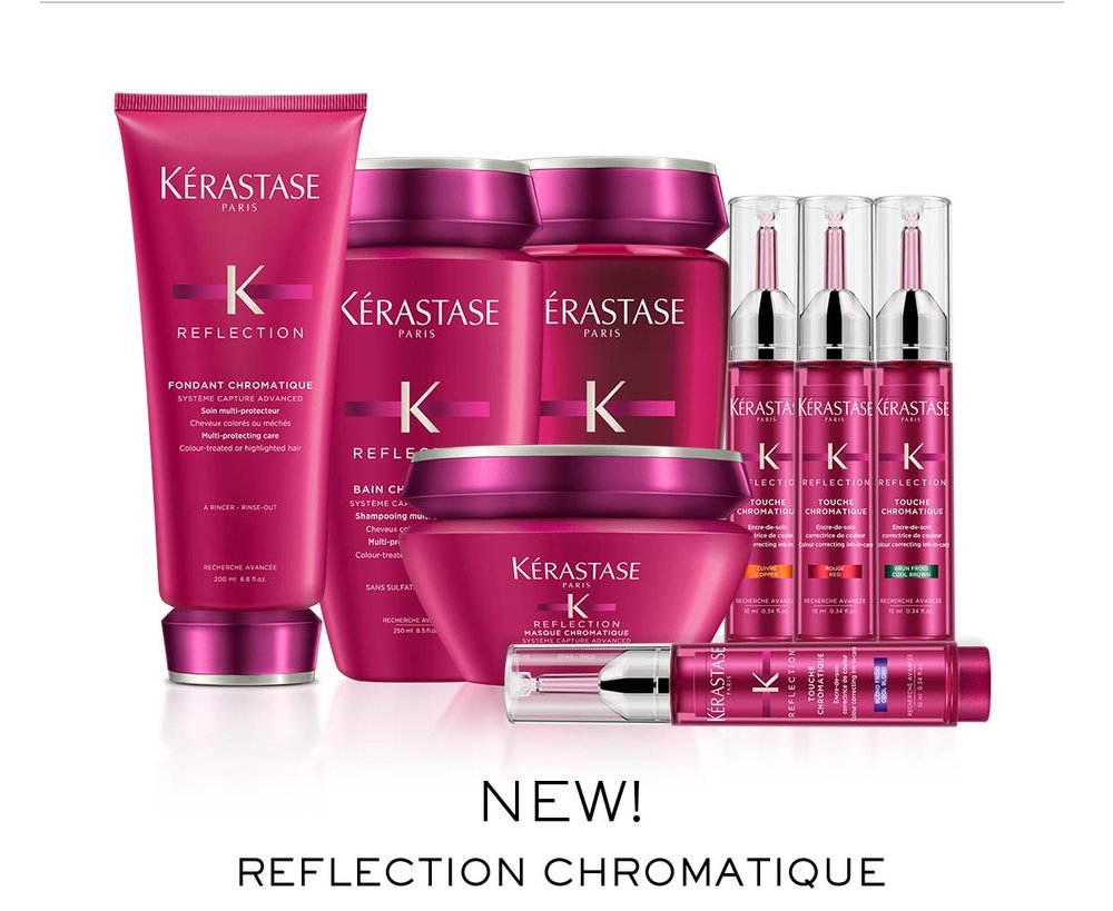 KÉRASTASE   Chromatique   Sulfate-free multi-protecting shampoo gently cleanses color-treated hair to protect and maintain healthy hair color.  Multi-protecting conditioner nourishes color-treated hair to protect and prolong color vibrancy for healthy hair color.   Multi-protecting mask deeply nourishes color-treated hair to protect and prolong color vibrancy for healthy hair color