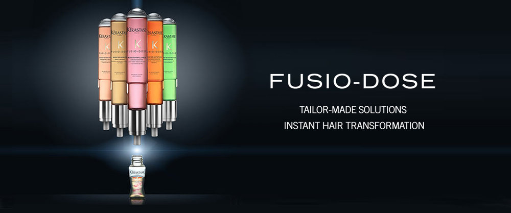 Fusio-Dose treatments combine a concentre with a booster to personalise the treatment to your unique hair needs.  Based on your needs, your hairstylist will create a customised mix from 20 possible combinations to instantly transform your hair. Your main concern is tackled by the concentré while your secondary concern is tackled by the booster.