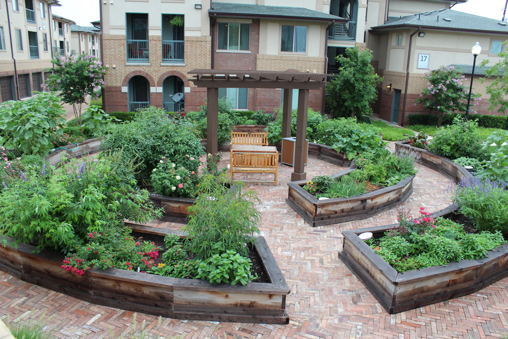 Our community garden. The inner ring consists of private gardens, ours is on the left, with roses in bloom, and the outer ring is open to the community, with herbs, flowers, and veggies for clipping.