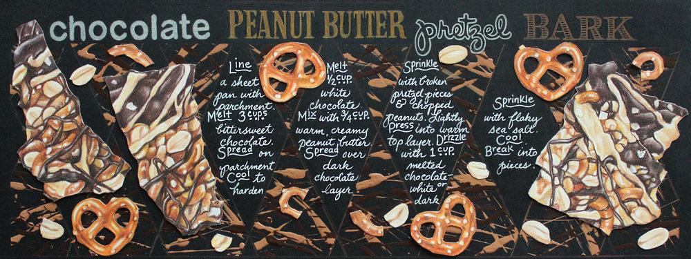Illustrated Recipe - Chocolate Pretzel Bark