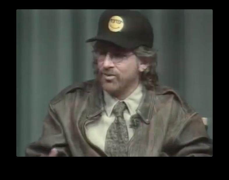 Stephen Spielberg rocking a Microsoft Bob hat.