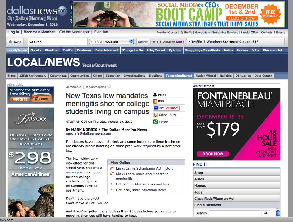 Dallas Morning News August 19, 2010
