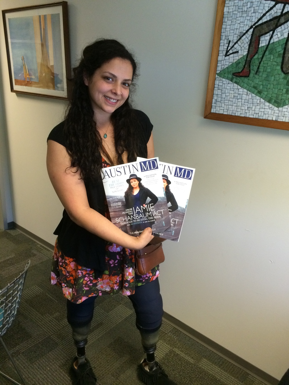 [This is Jamie picking up the Austin MD magazine (March-April 2015).  Front Cover!]