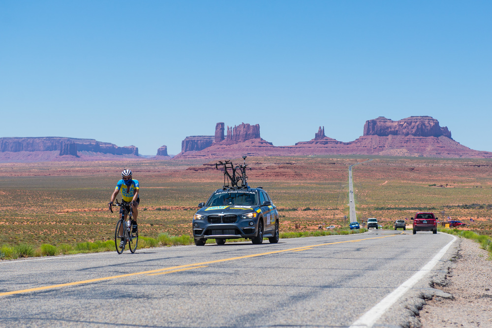 Marshall Reeves passes through Monument Valley in Arizona on June 17th, 2016  as he makes his way to Utah.