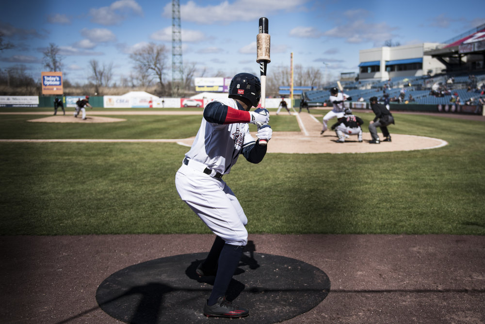 Rafael Bautista warms up in the on deck circle as he awaits his second at bat of the season against the Rochester RedWings on April 8th, 2017. Before getting called-up to the Washington Nationals on April 29th, 2017, Bautista led the Syracuse Chiefs in batting average (.291), hits (23), runs (14), and stolen bases (3).