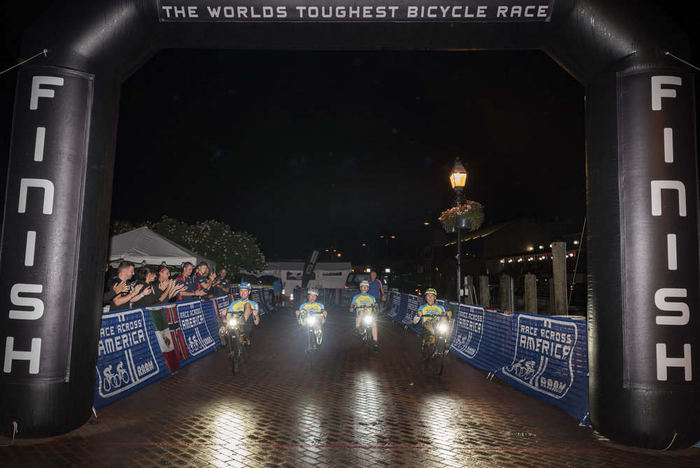 The 3000 Miles to a Cure team crosses the finish line in Annapolis, Maryland after a 6-day, 3000-mile journey to raise money to beat brain cancer.