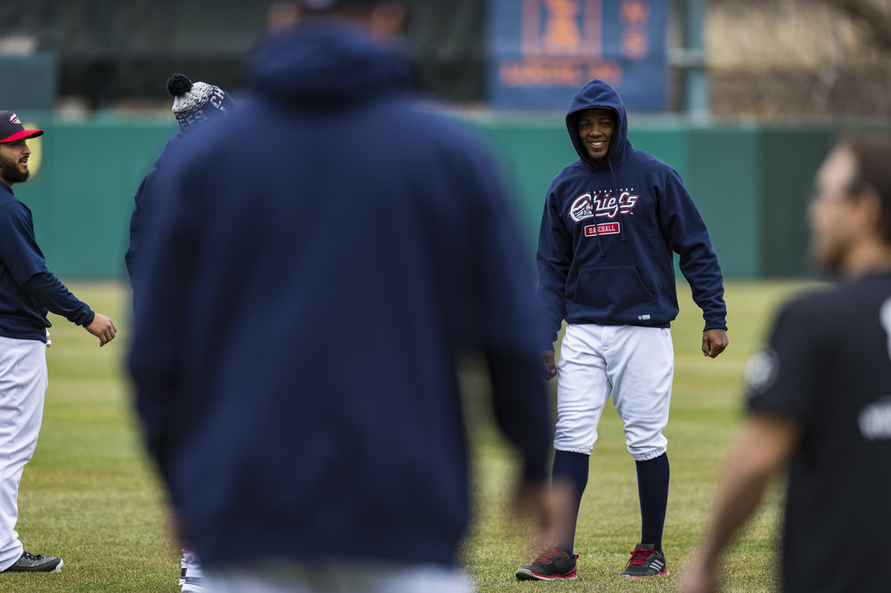 Several Syracuse Chiefs players joke around during practice a day before what was supposed to be the first game of the season in April 5th, 2017. The game was postponed the next day due to inclement weather.