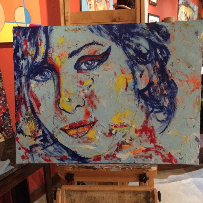 """Work in progress of Amy Winehouse.....what should I tittle it? """"Bird"""". """"Souring Bird"""", """"Bird Song"""""""