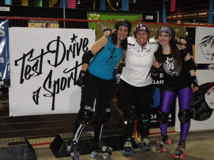 """TDAS roller derby with me - Test Drive a Sport was an event I created so women could try up to 10 different sports at the Women's Sports Fairs."""