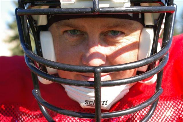 --- Linda Craig sporting her tackle football uniform. ---
