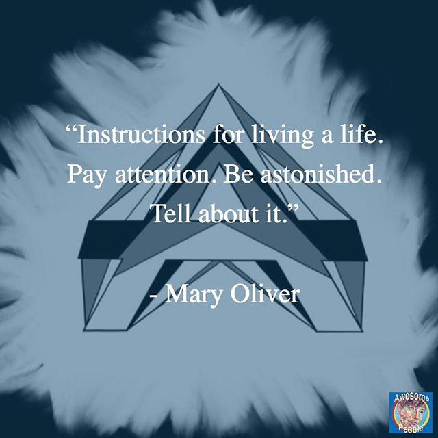 """""""Instructions for living a life. Pay attention. Be astonished. Tell about it."""" - Mary Oliver #peoplewhoinspire #goodthoughts #thinkbig #beawesome #bethecaptain"""