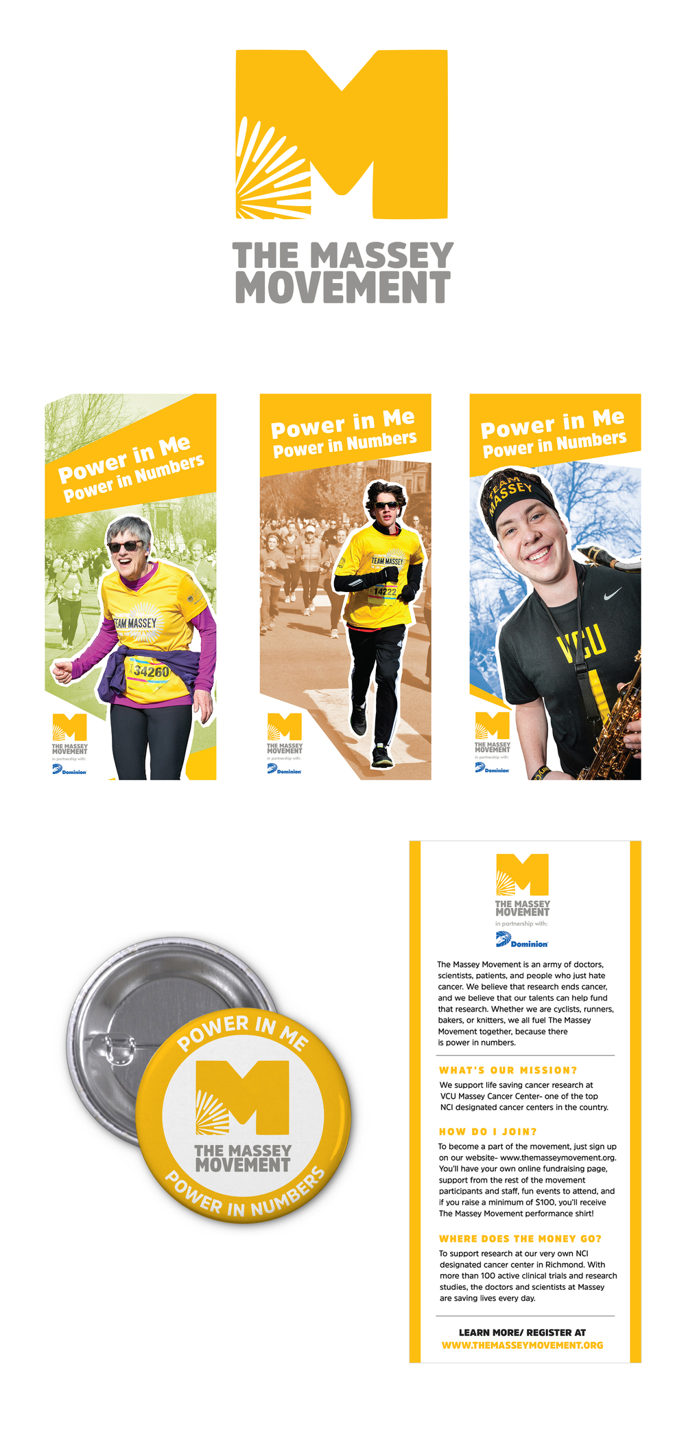 The Massey Movement logo, button, and flyer designs by Anna Andreen