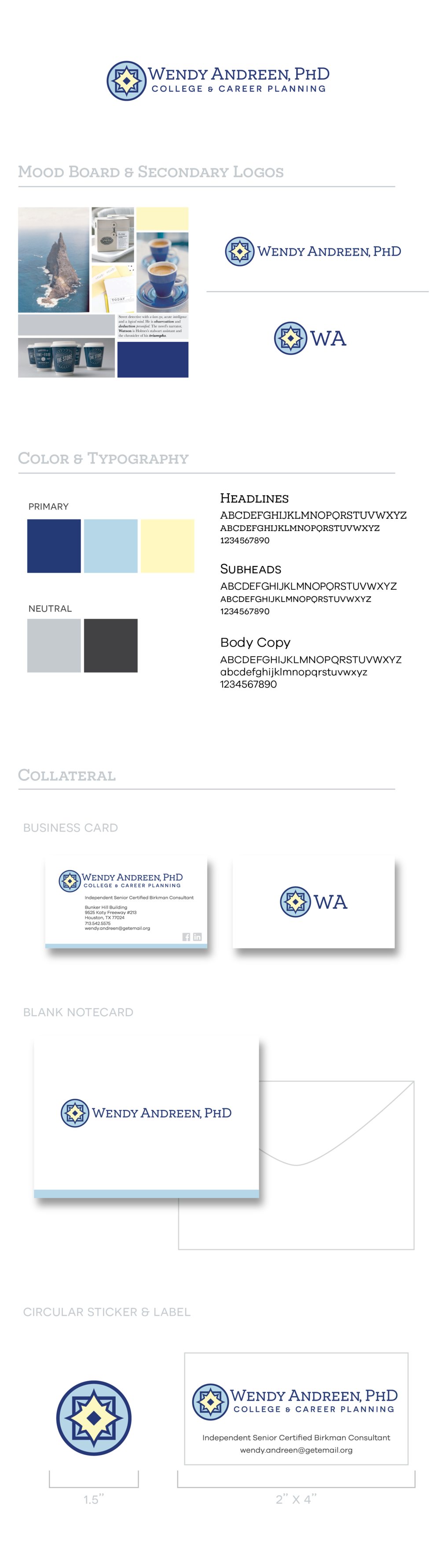 Wendy Andreen logo, mood board, colors, typography, business card and stationary by Anna Andreen