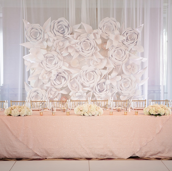 STYLE ME PRETTY | BLUSH AND FLORAL WALL WEDDING