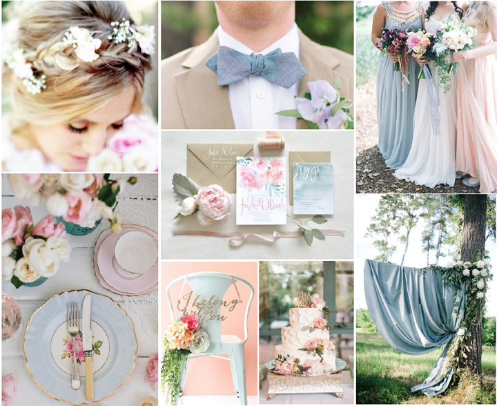 A romantic dusty blue pink and gold wedding charmed events group junglespirit Images