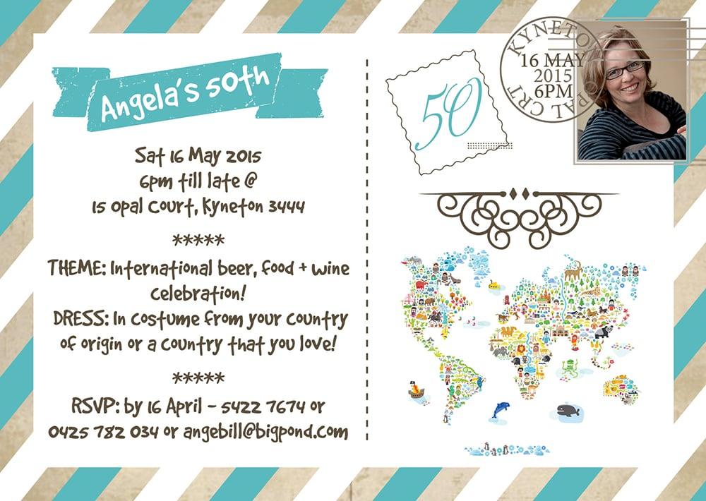 artwork  50th birthday postcard