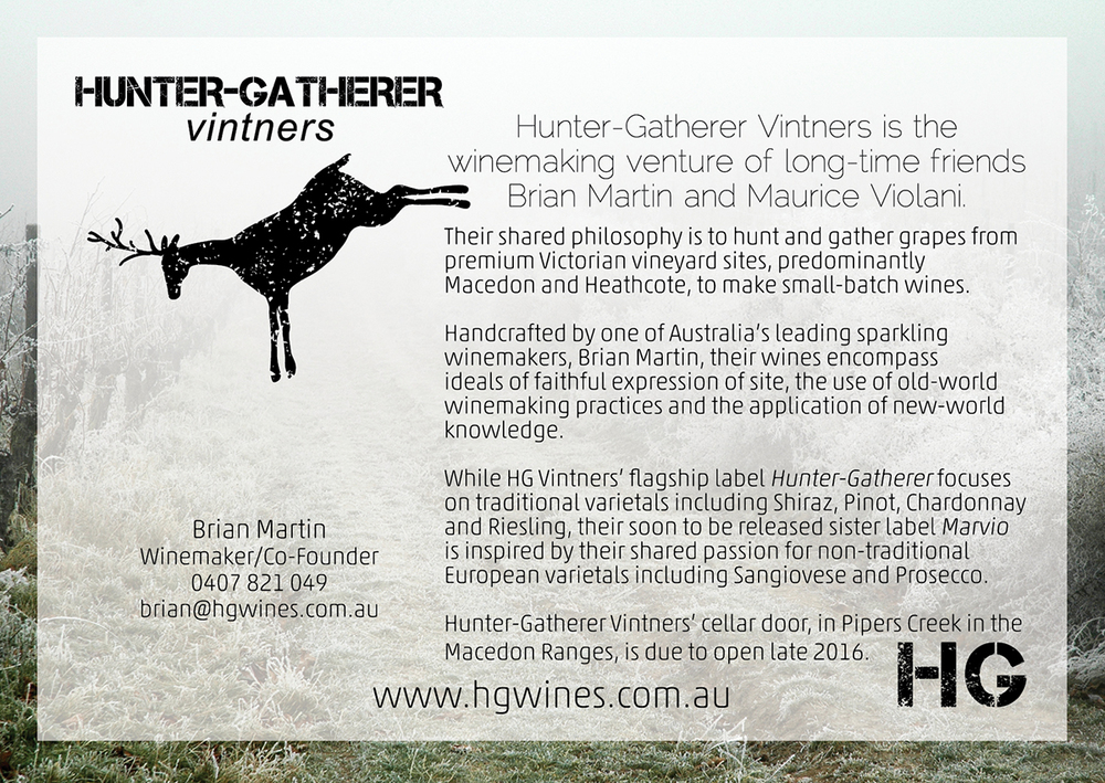 POSTCARD DESIGN + SPLASHPAGE  HUNTER-GATHERER VINTNERS