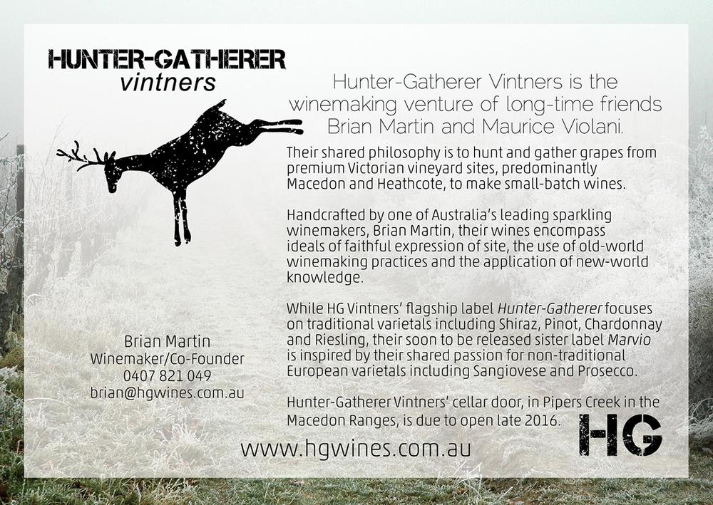 POSTCARD DESIGN + SPLASHPAGE  HUNTER-GATHERER VINTNERS