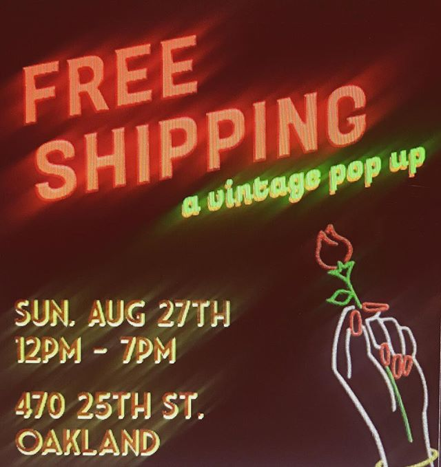 You guys we slept in yesterday and missed the eclipse. Big bummer. The only thing keeping our heads up is the #freeshippingpopup this Sunday! . . . . VINTAGE  from @hotwatervintage @smokeshop.vintage @kaleidoscopegoods @thegoldenhoursf @st.lightning + ART INSTALLATION  by : @carolynn_haydu + COCKTAILS by: @kimberology101 + handmade amazing WALLETS by @kris_tin_can + more!