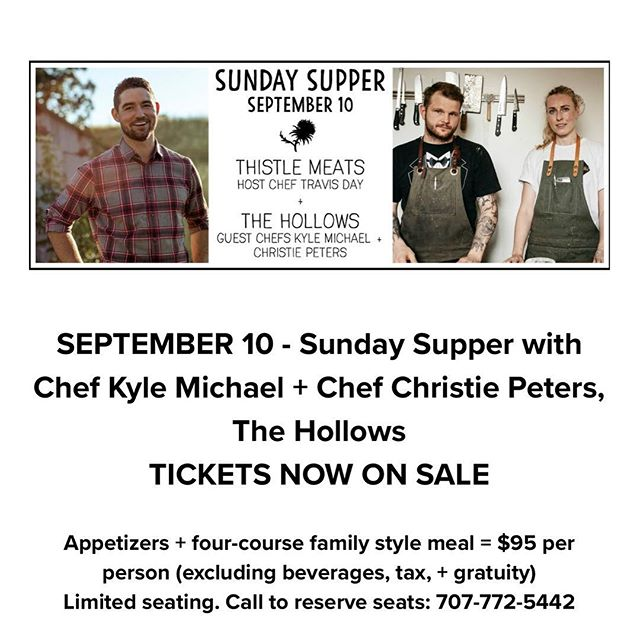 Up next: Sunday Supper at Thistle Meats featuring host chef Travis Day and guest chefs Kyle Michael and Christie Peters from The Hollows in Saskatchewan SK Canada. Tickets are on sale - follow the link in our bio 🍽. . . . . . . #eatersf #eater #foodandwine #tmsundaysupper #farmtotable #bonappetit #eeeeeats #sundayfunday #popupdining #butcher #charcuterie #knowyourfarmer #knowyourrancher #petaluma #downtownpetaluma #yum #eeeeeeeats #food52 #bayareabuzz