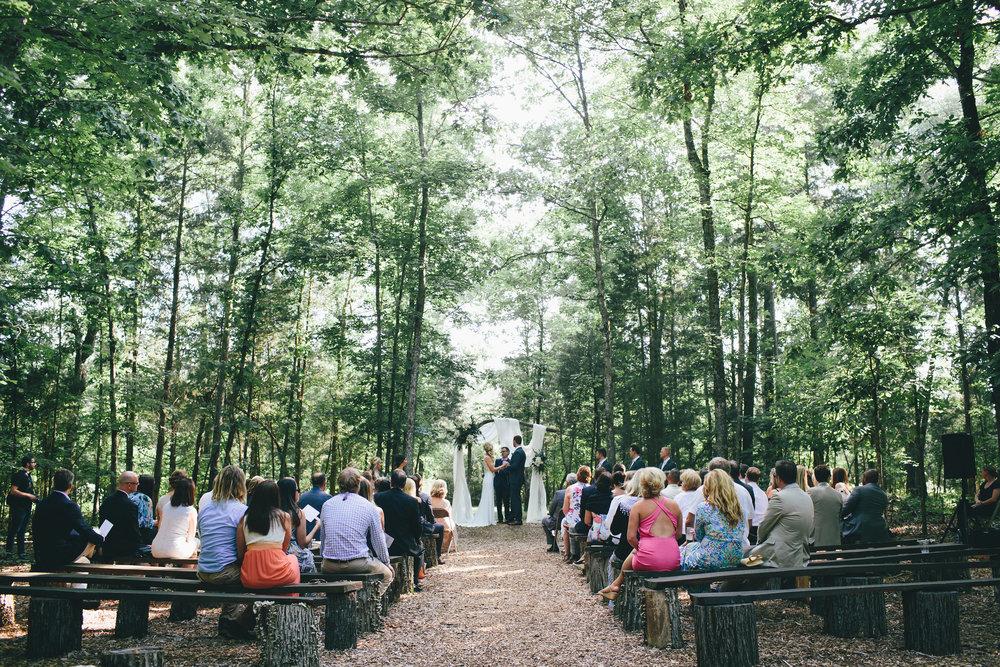 wedding in the woods woodland wedding north carolina venue