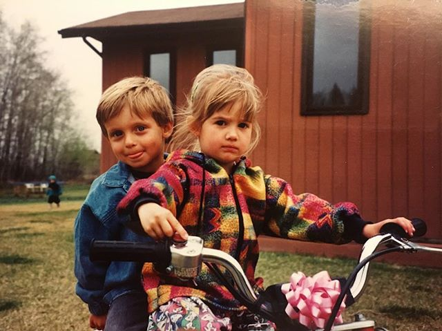 Me on my first bike my crazy ass dad bought me for my 4th birthday. Boys on the back since 1995 🐶🐶