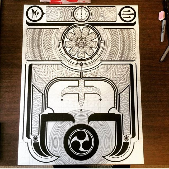 WIP from Musashi Thoth. Make sure you zoom in 🔍 to catch those details! #inkonpaper #tightlines #spaceistheplace #articincollective @mirukusekikarasu