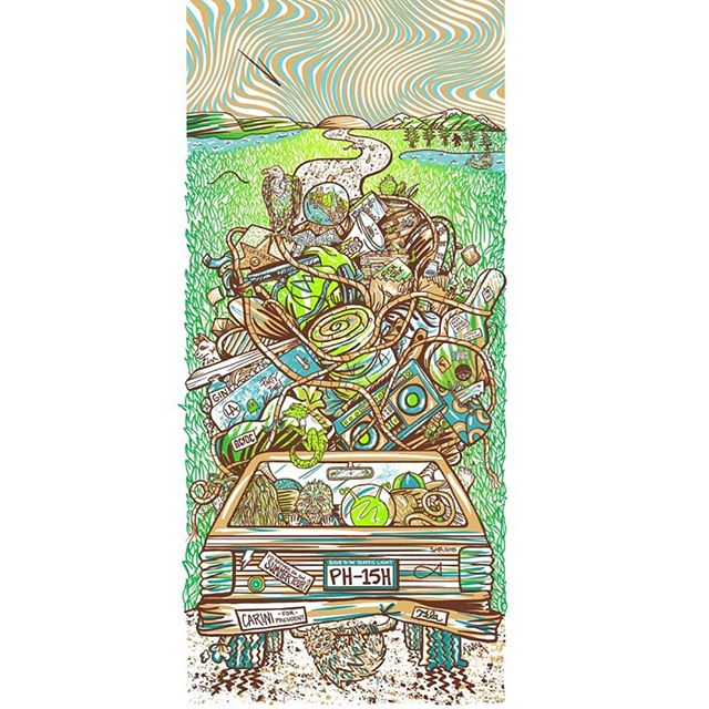 "Happy to share this awesome new print by Lizzy Layne (@lizzylayneart) commemorating Phish's 2018 Summer Tour! Hand-illustrated, 4-color screen print, signed and numbered, limited edition of 85. Printed on 10"" x 22"" archival Stonehenge paper.  Illustration includes 40+ references to various Phish songs as well as nods to all the cities on the tour.  You can pick one up at the Phan Art event tomorrow at Harvey's or through the link in her bio! #phanart #phish #summertour #roaddawgz"