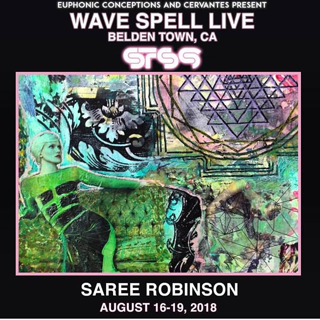 Going to Wave Spell this weekend? Lucky you! Now make sure to check out Saree Robinson going in on live collage action all weekend! If you're on the fence, use discount code SAREE for a special ticket price to get wavy with 🌊👋🎶 @saree.robinson @sts9 @euphonic_conceptions #wavespell2018 #livecollage #getwavy