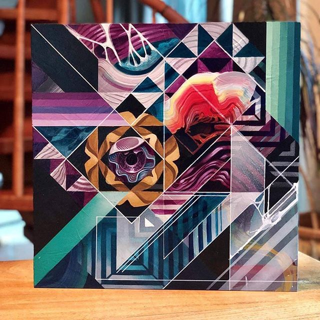 "New work from @des10art ! ""Ricochet II"" 16x16"" Acrylic and aerosol on wood panel. #des10art #acrylicpainting"