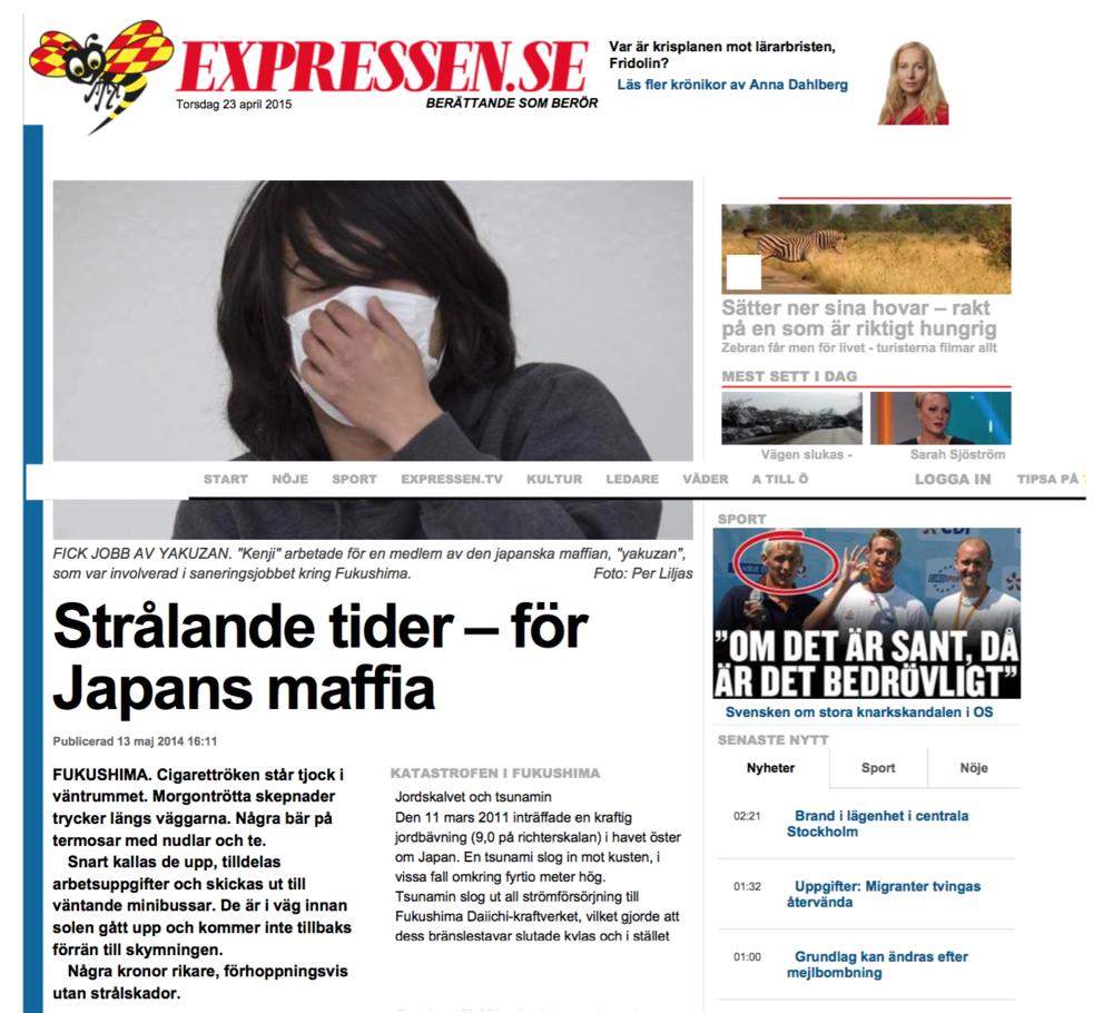 """Expressen.se """"Strålande tider – för Japans maffia  """"     Sweden/2015"""