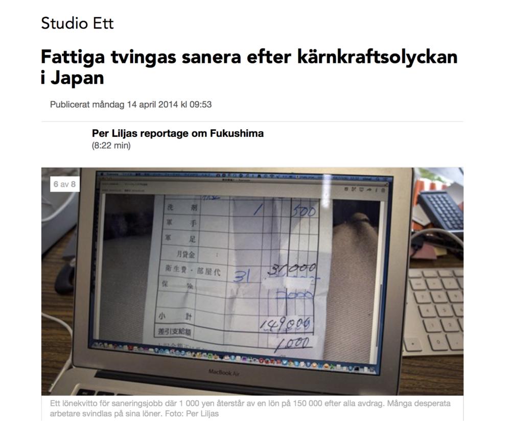 """Sveriges Radio """"  Fattiga tvingas sanera efter kärnkraftsolyckan i Japan  """"    Sweden/2014"""
