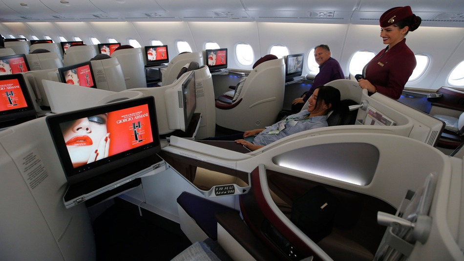 Qatar Airways business class seats in the Airbus A380   IMAGE: FRANCOIS MORI/ASSOCIATED PRESS