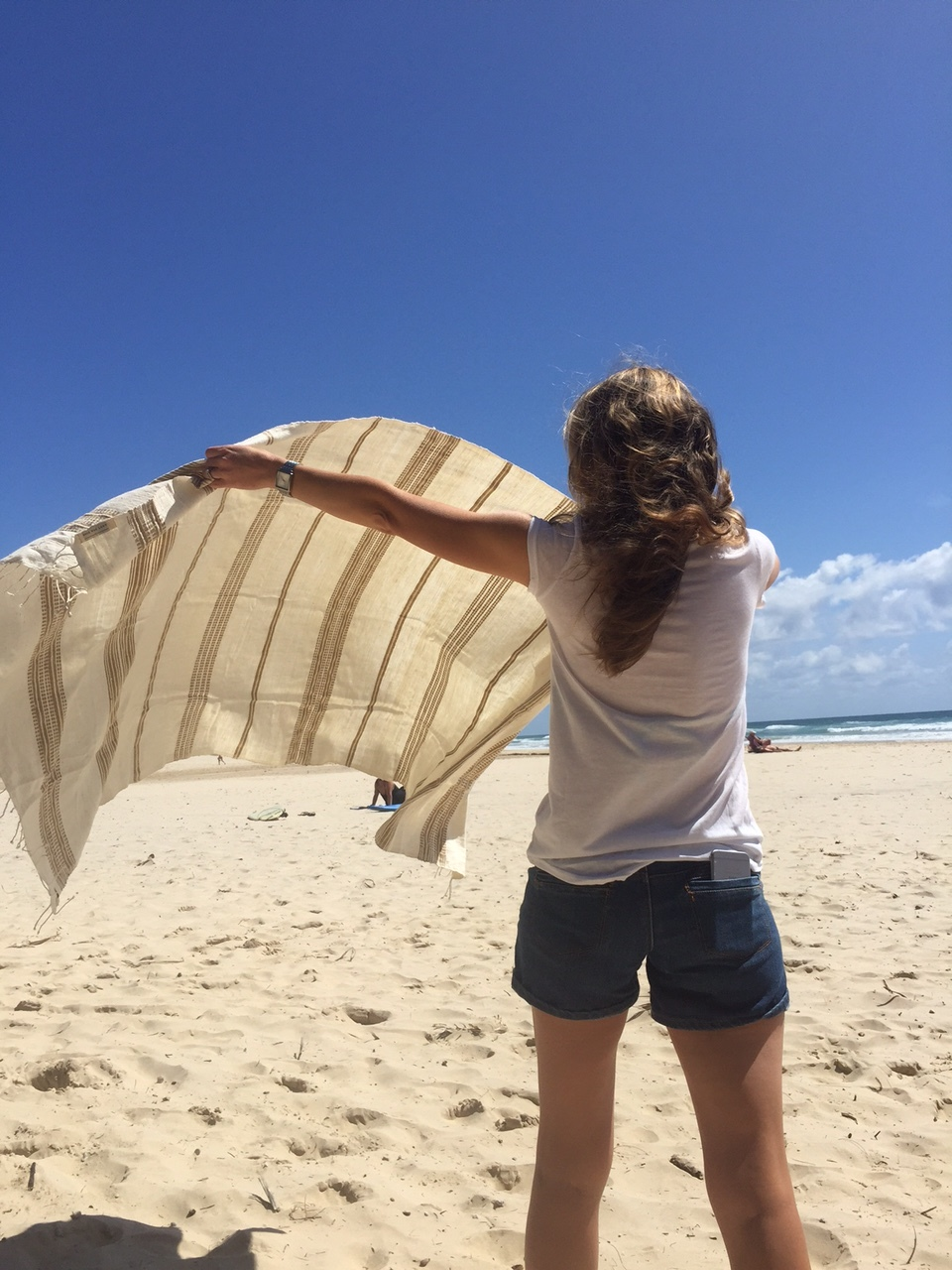 Living the dream at Coolum Beach with my trusty  cotton towel !