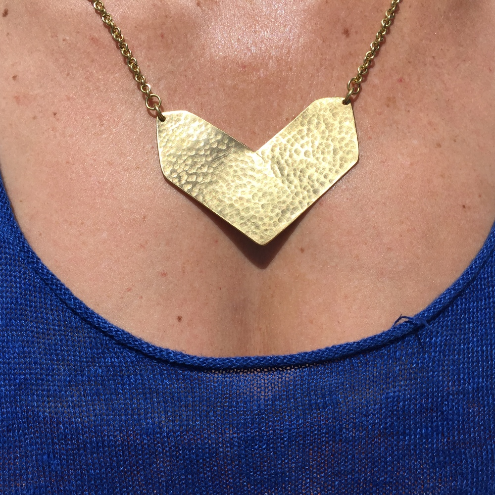 Shale necklace in brass , $45