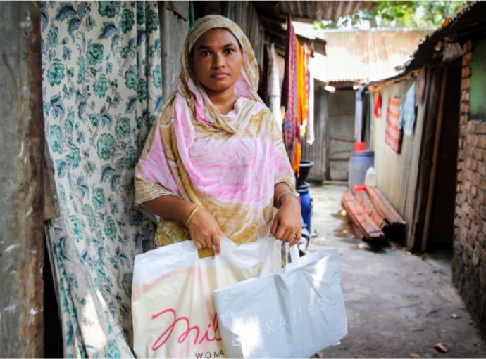 According to Oxfam, Anju is paid just 37 cents an hour to make our clothes. That is less than the minimum wage in Bangladesh. She can't afford to have her children live with her