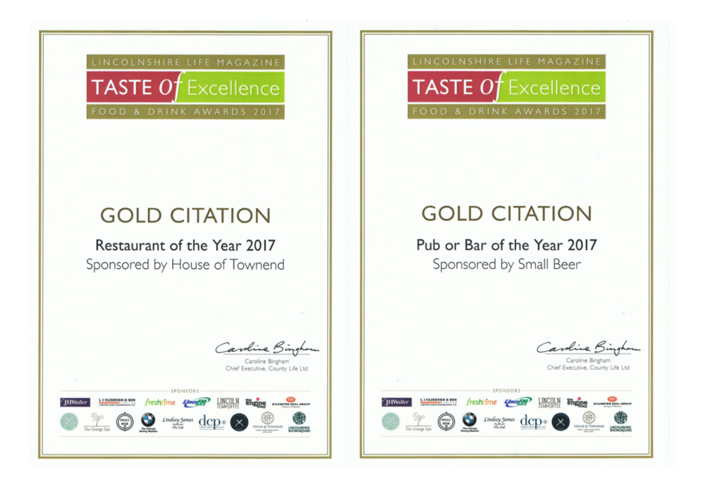 We achieved a Gold Citation for Restaurant of the Year 2017 and Gold Citation for Pub or Bar of the Year 2017.  A huge thank you to everyone who voted for us again this year.