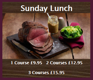 Sample Sunday lunch menu served from 12 noon~5pm