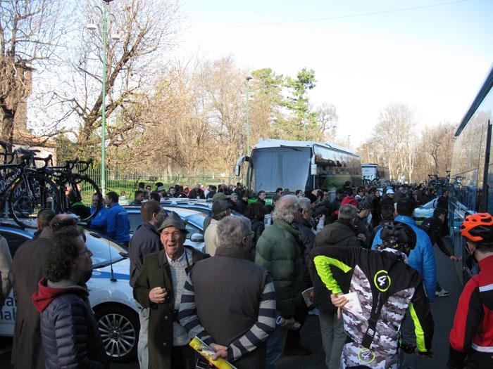 Tons of tifosi mob the team pits outside Castello Sforzesco before Milano-Sanremo