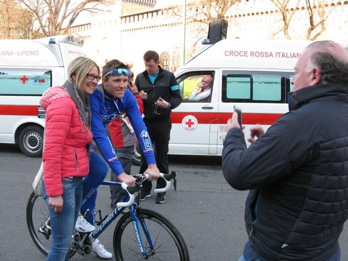 Eventual winner Arnaud Demare (FDJ) has his snap taken with an Italian fan before the race