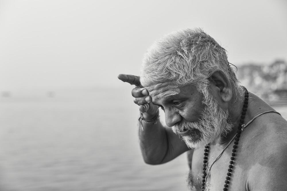 A Baba during his morning ritual at the Ganges in Varanasi - Copyright: Daniel Hofmann